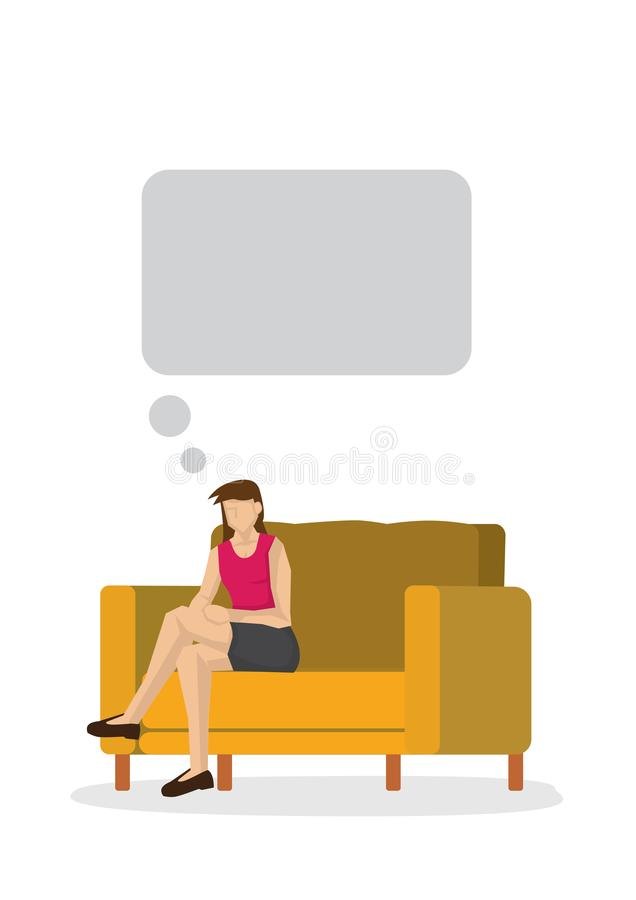 Young woman lying think relaxing on the couch/sofa at home indoors, dreaming with an empty thinking bubble with copy space. Vector illustration vector illustration