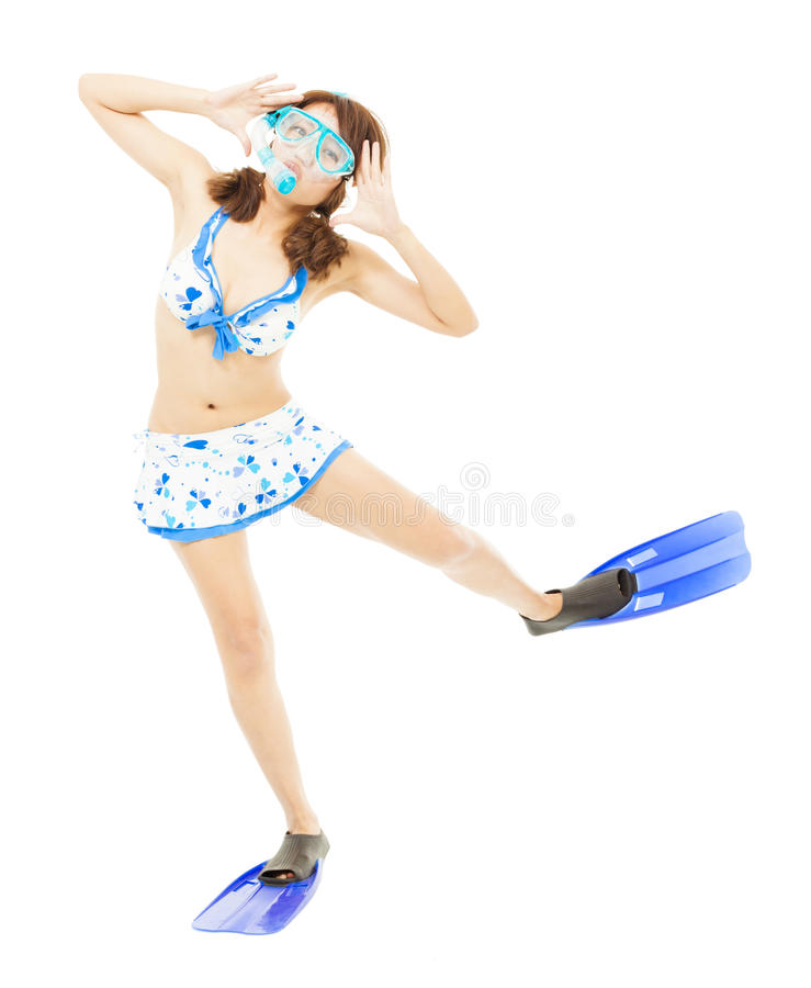 Young woman make a cute pose and dance stock photo