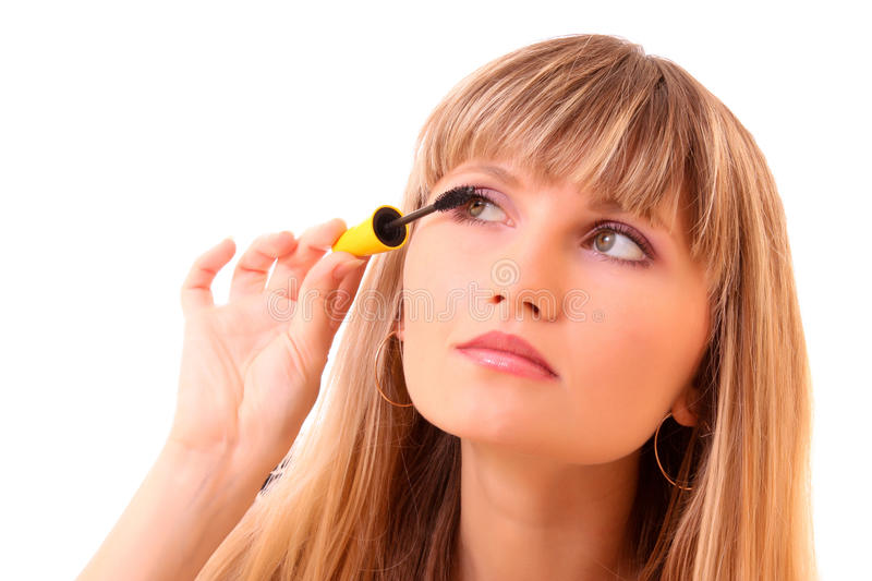 Download Young Woman Make Up Her Eyelash Isolated Royalty Free Stock Image - Image: 9424036