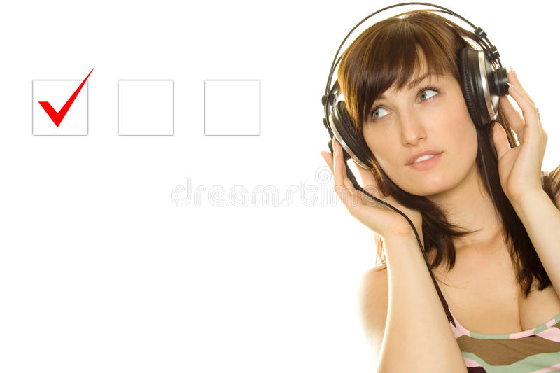 Download Young woman makes a choice stock photo. Image of agreement - 15503202
