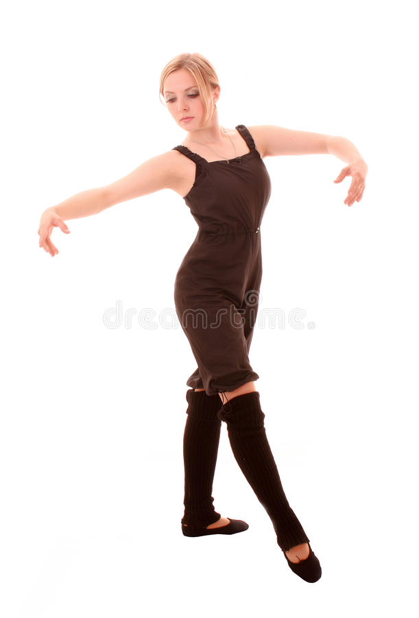 Young Woman Makes Dancing Exercise Isolated Stock Photos