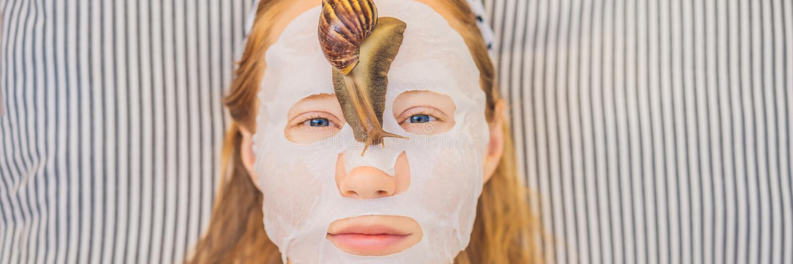 Young woman makes a face mask with snail mucus. Snail crawling on a face mask BANNER, LONG FORMAT. Young woman makes a face mask with snail mucus. Snail crawling royalty free stock photography
