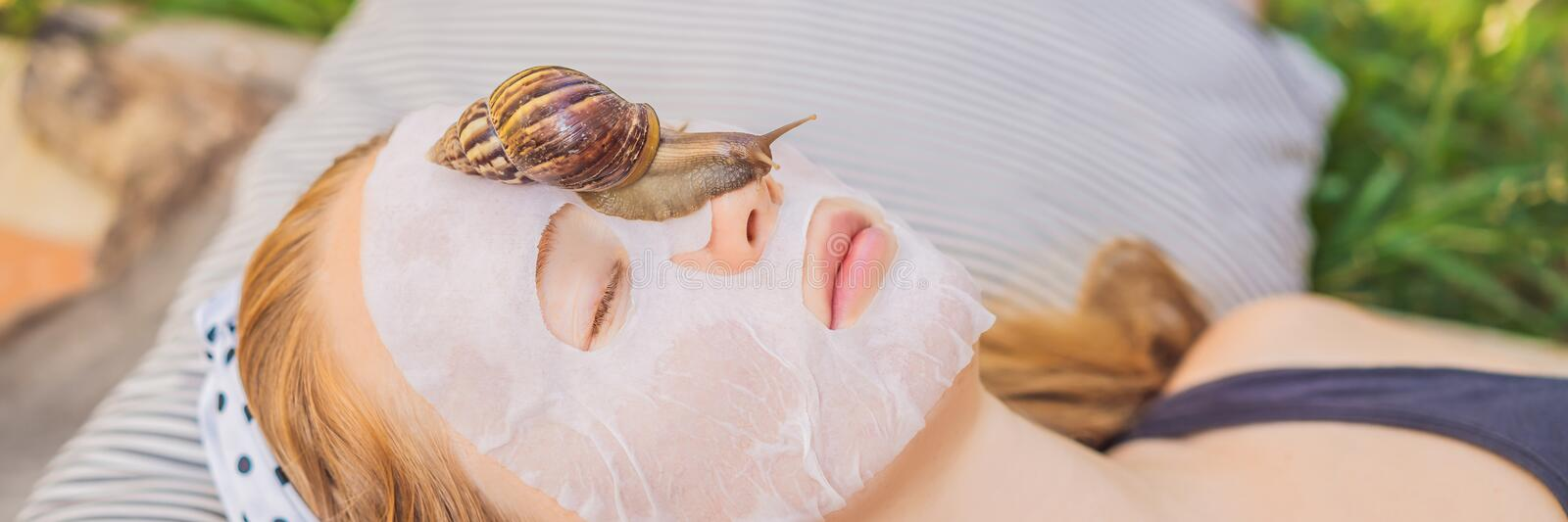 Young woman makes a face mask with snail mucus. Snail crawling on a face mask BANNER, LONG FORMAT. Young woman makes a face mask with snail mucus. Snail crawling royalty free stock image
