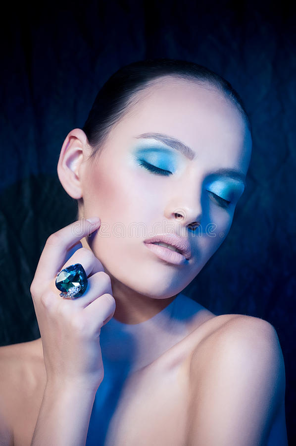 Young woman with makeup. Portrait of beautiful young woman with makeup stock image