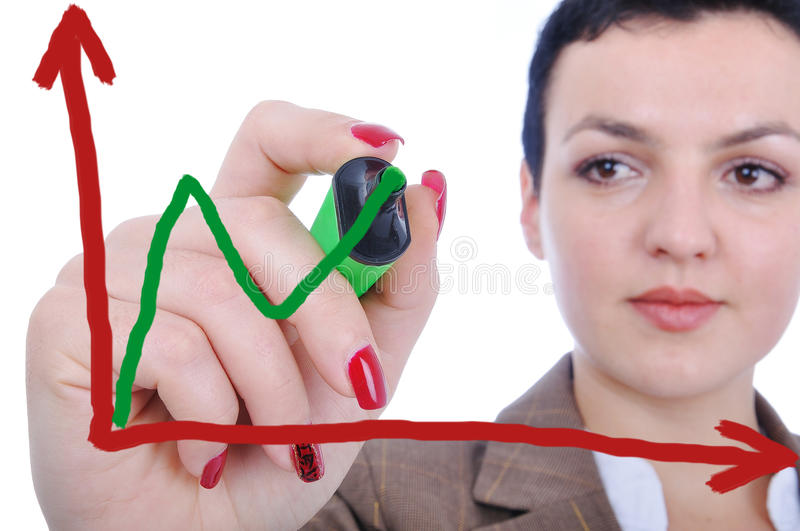 Download Young woman making a chart stock photo. Image of arrow - 11798480