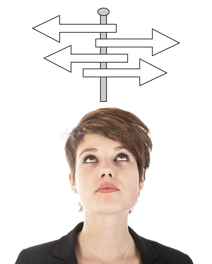 Young woman making a choice with arrows isolated royalty free stock image