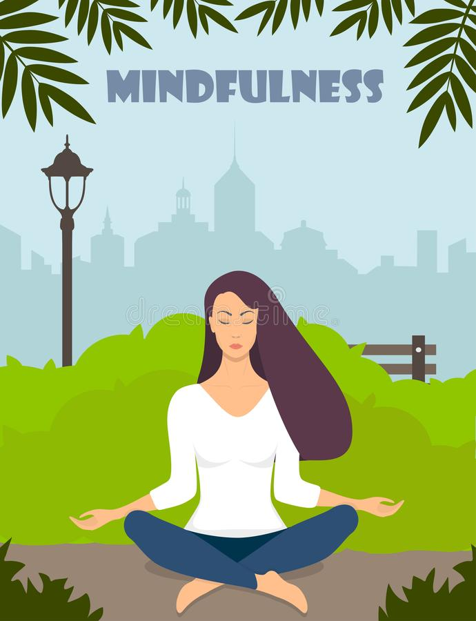 Young woman making meditation in lotus pose with closed eyes. Beautiful girl relaxes, practicing yoga in city park. Vector flat stock illustration