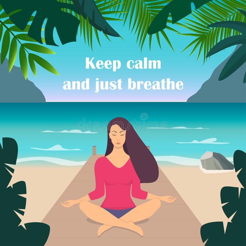 Young woman making meditation in lotus pose with closed eyes. Beautiful girl relaxes, practicing yoga on the seashore, surrounded vector illustration