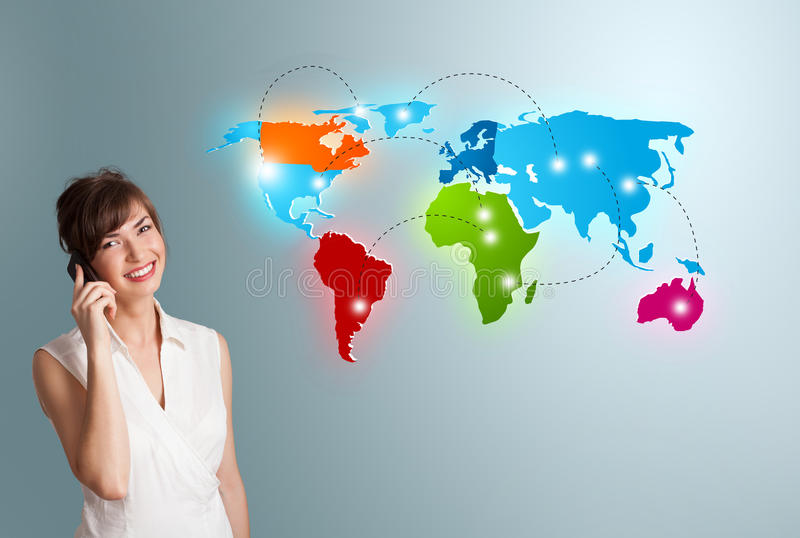Young woman making phone call with colorful world map stock image download young woman making phone call with colorful world map stock image image of globe gumiabroncs Gallery
