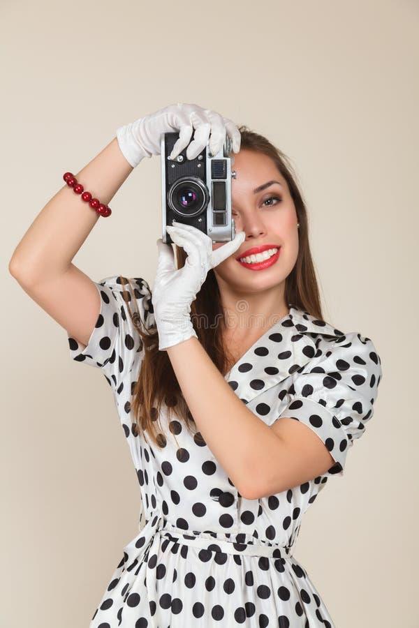 Young woman making photos royalty free stock photos