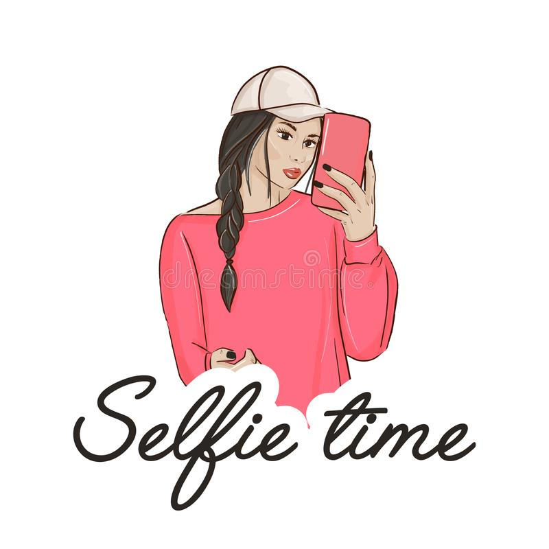 Young woman making selfie. Casual lifestyle girl with camera making photo. Cute city character design. Simple modern. Sketch, lady in pink portrait Selfie time stock illustration