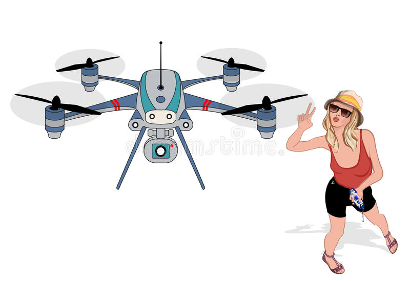Young woman making selfies with a drone. Young woman holding radio controller making selfies with a drone - vector illustration vector illustration