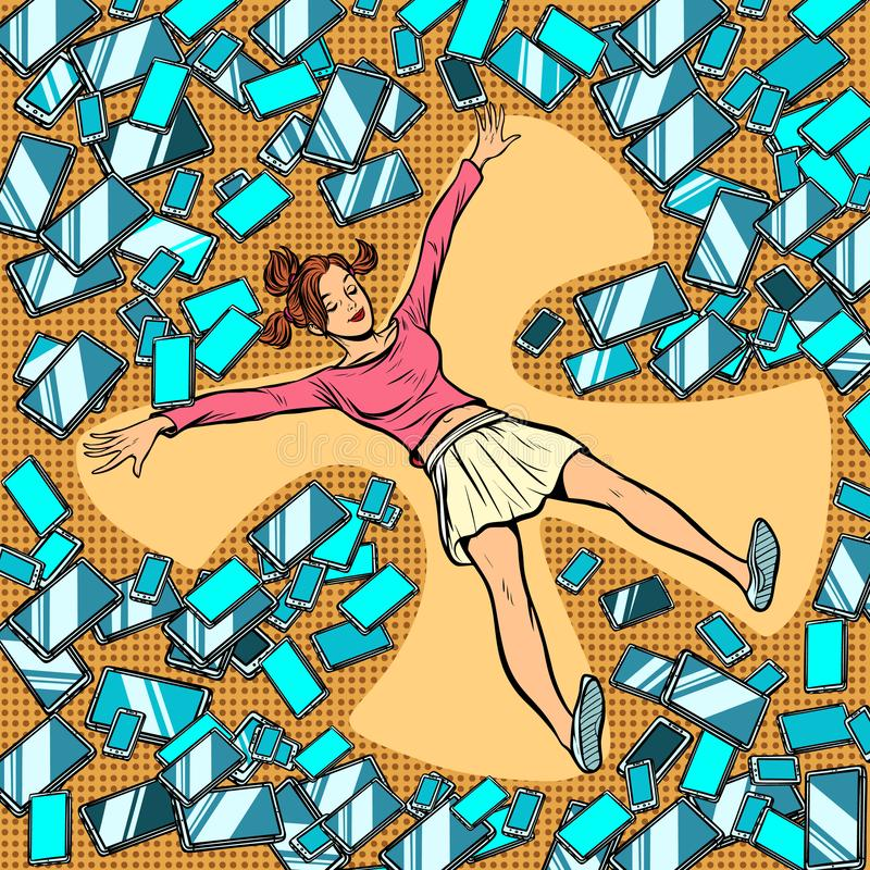 Young woman making snow angel in gadgets, phones and tablets royalty free illustration
