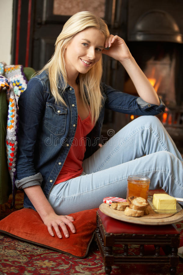 Download Young Woman Making Toast On Open Fire Stock Image - Image: 21415411