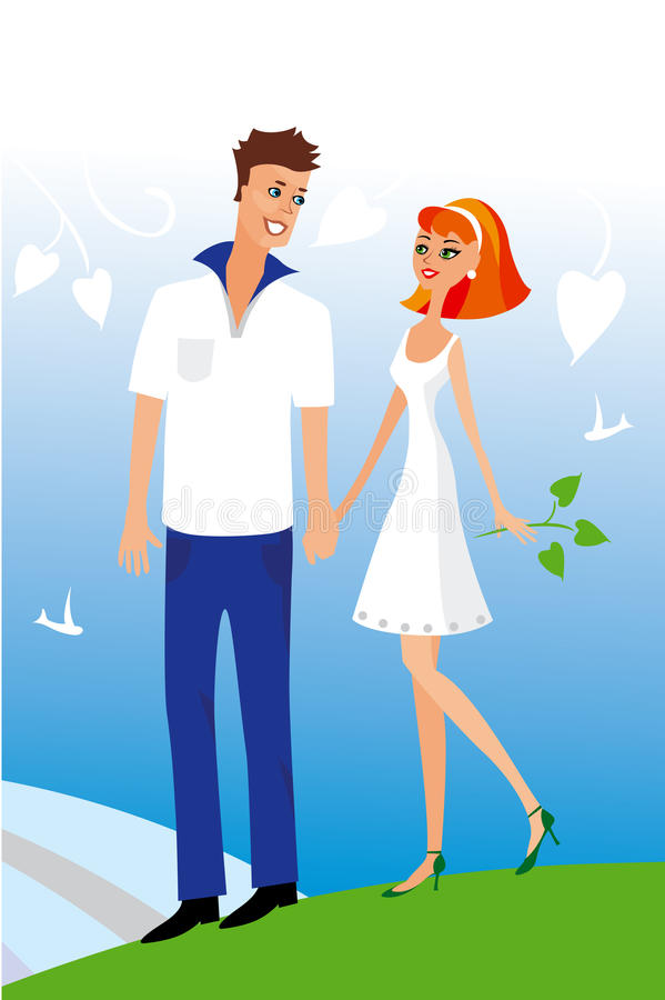 Young woman and man. Vector illustration of young woman and man royalty free illustration