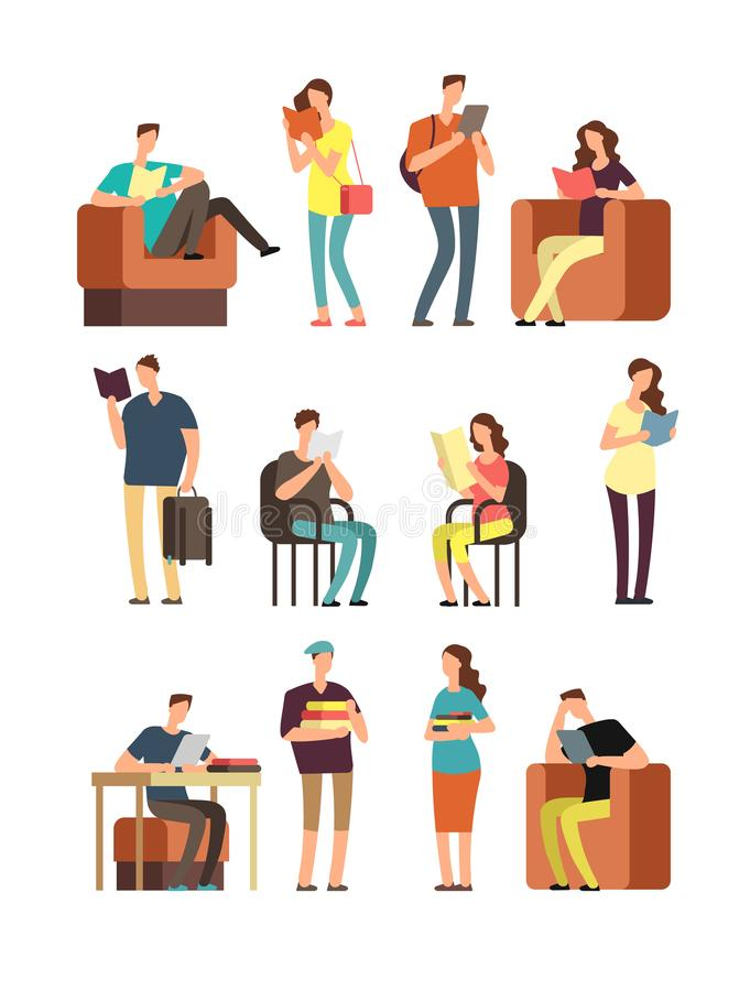 Young woman and man, college students reading book. People readers studying with books and magazines. Cartoon characters vector illustration