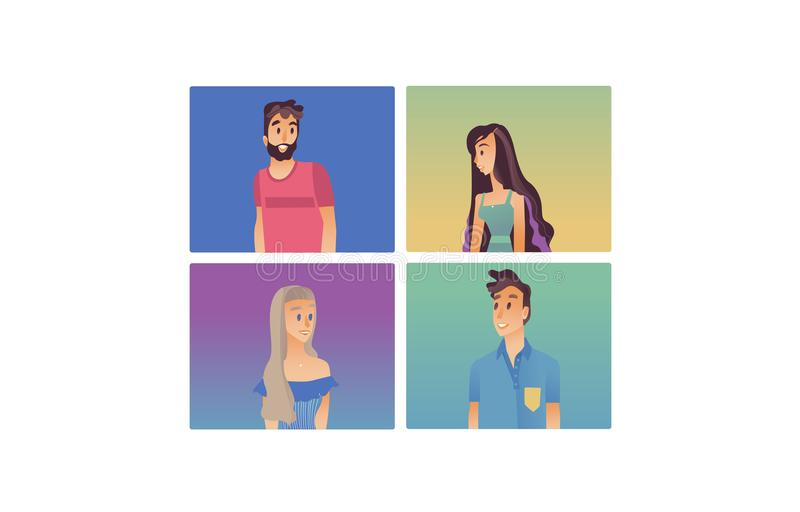 Young woman, man flat avatar vector royalty free illustration