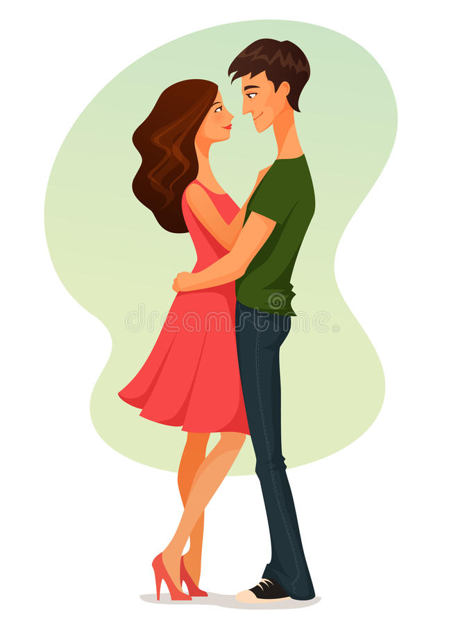 Young woman and man in love, hugging vector illustration