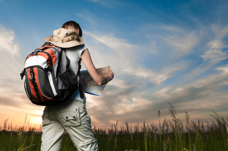 Download Young Woman With Map And Backpack Stock Image - Image: 14934977
