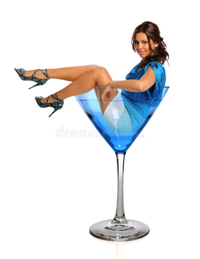 Young Woman in Martini Glass. Beautiful Hispanic woman in martini glass isolated over white background royalty free stock image