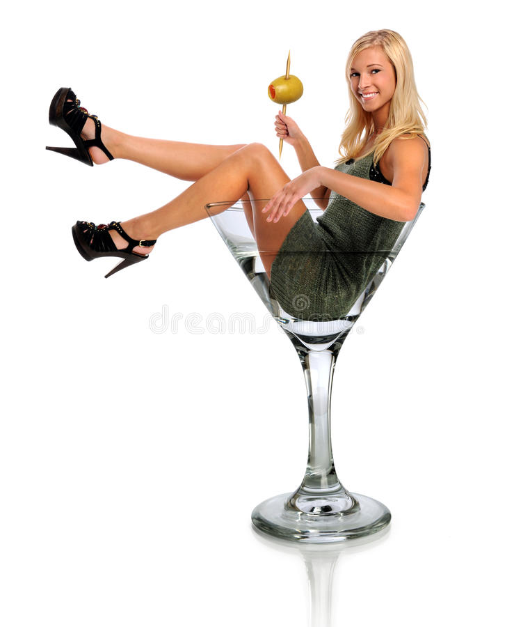 Young Woman in Martini Glass. Beautiful young woman in martini glass isolated over white background stock photos