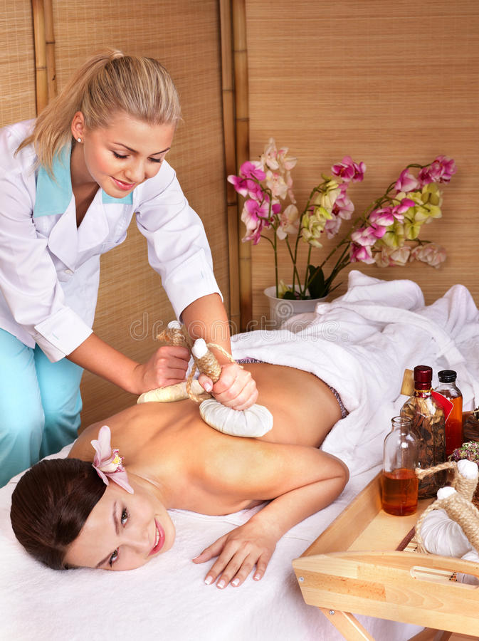 Download Young Woman On Massage Table In Beauty Spa. Stock Photo - Image: 16388074
