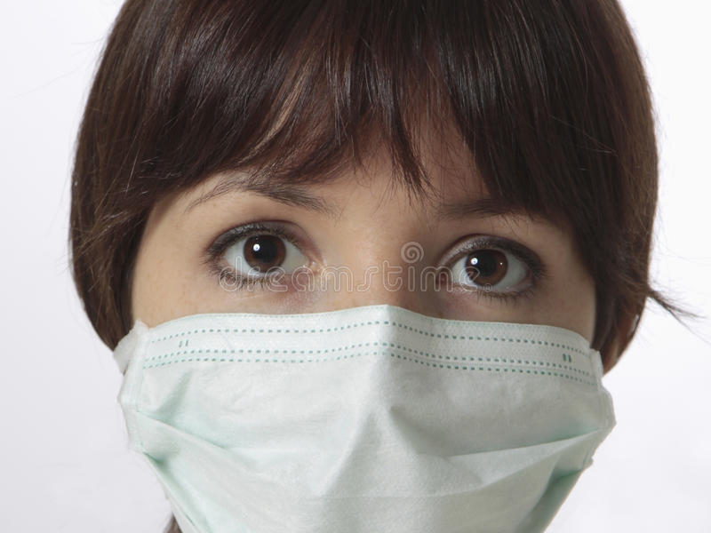 young woman with medical mask
