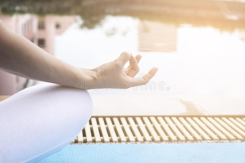 Young woman meditating. stock images