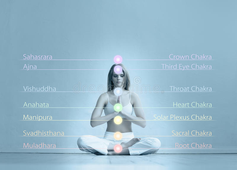 Young woman meditating in a lotus position. Healthy woman meditating in lotus position. Colored lights with chakra names over her body. Yoga, zen, Buddhism stock images