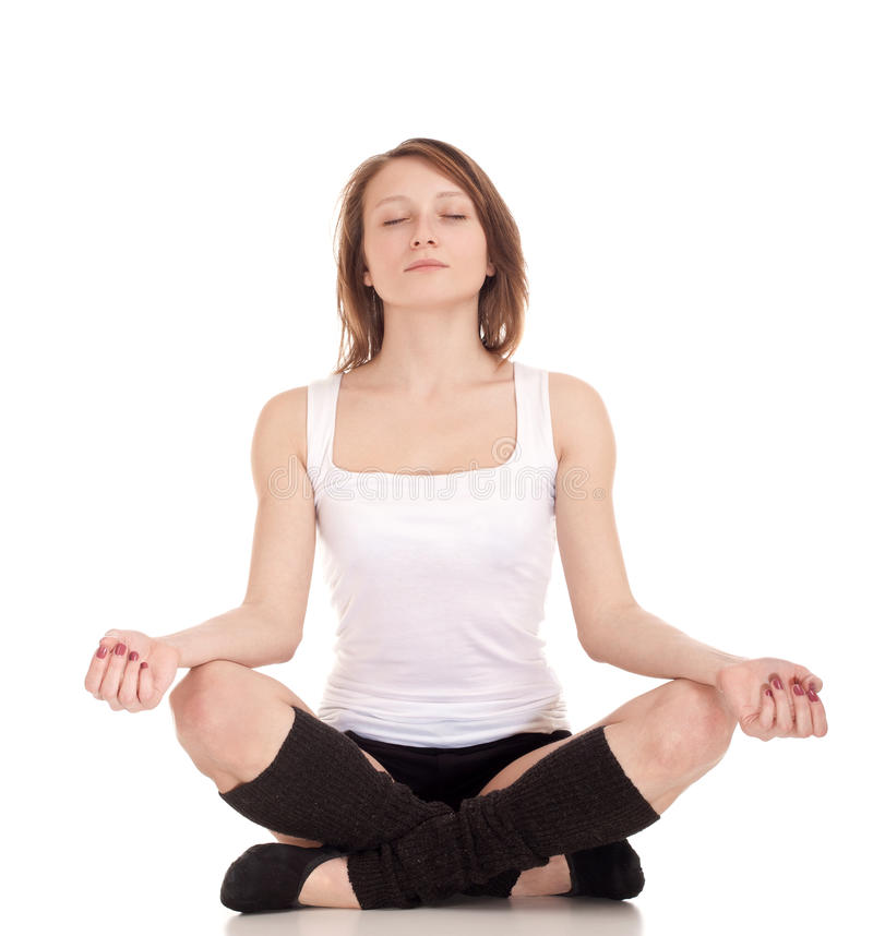 Download Young Woman Meditating In Pose Of Lotus Stock Image - Image: 28000109