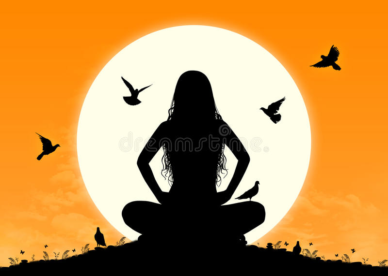 Download Young Woman In Meditation At Sunrise Stock Illustration - Image: 32050224