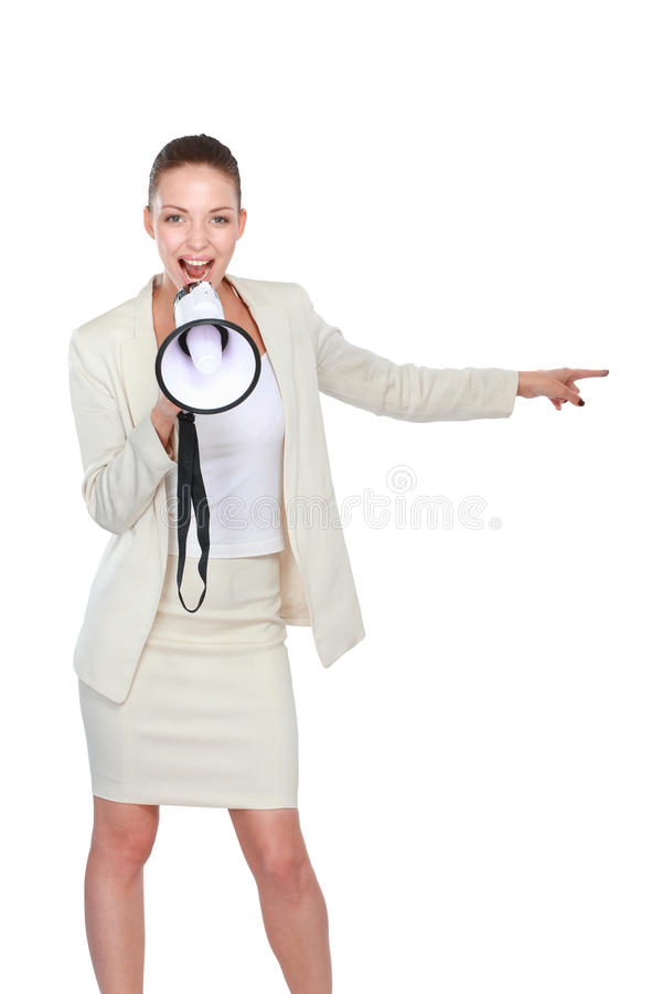 Young woman with a megaphone , isolated on white background stock photography