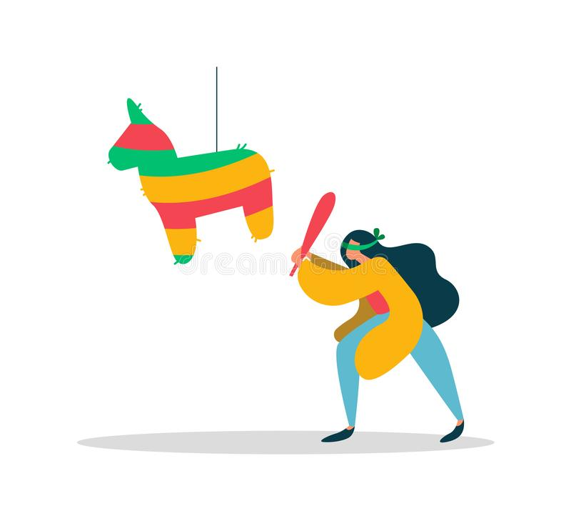 Young woman with mexican birthday pinata concept vector illustration