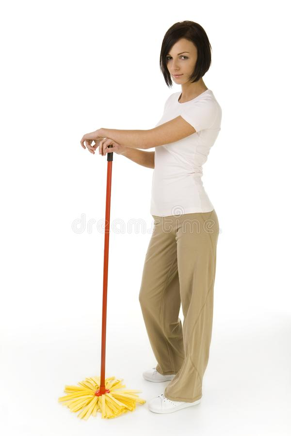 Young woman with mop royalty free stock photography