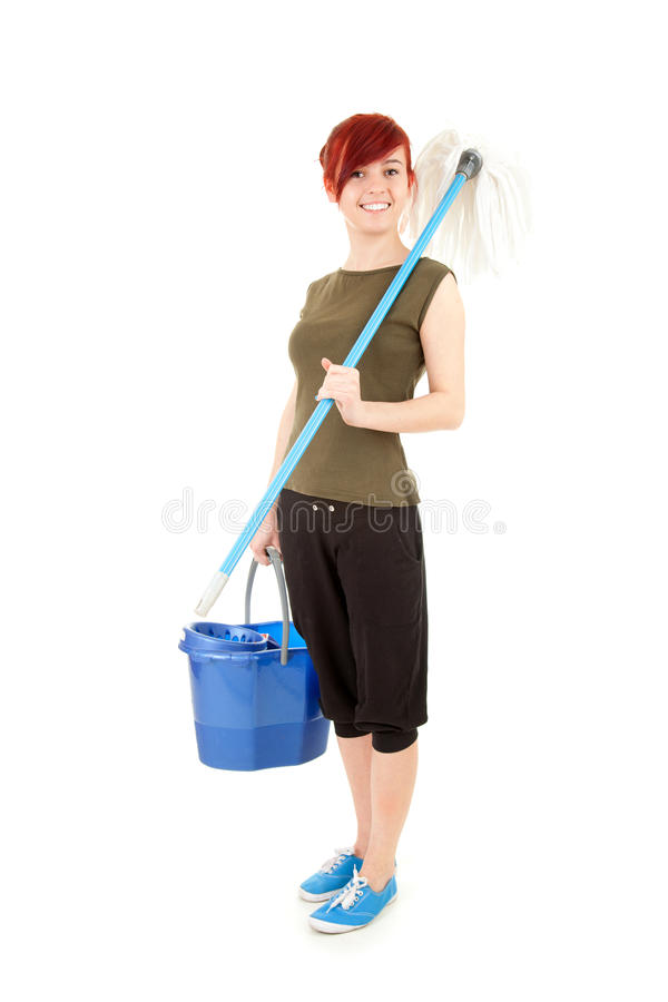 Download Young Woman With Mop Ready To Cleaning Floor Stock Image - Image: 26435449