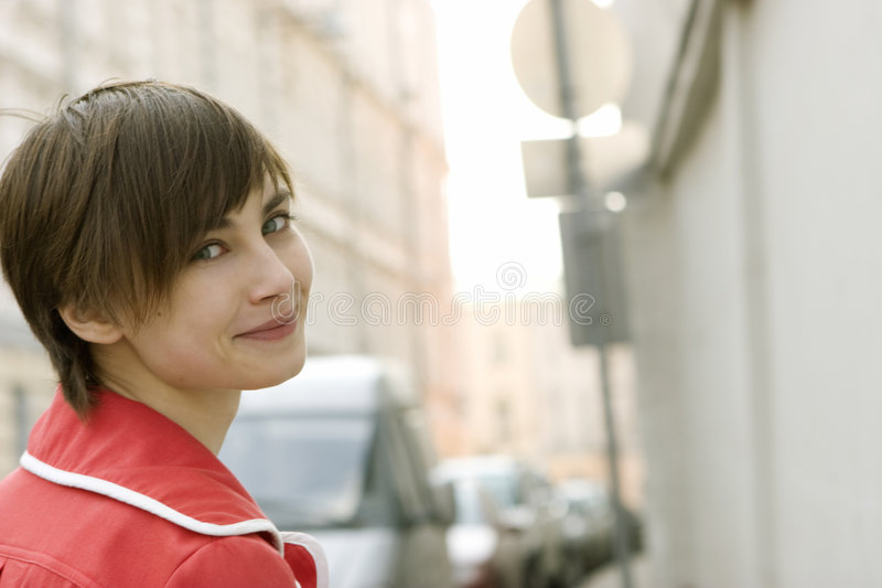 Young woman in the Moscow street royalty free stock photo