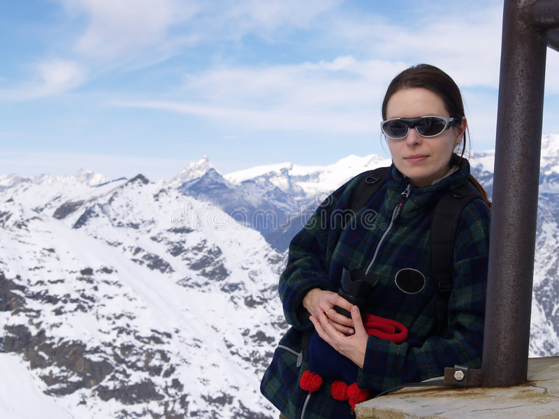 Young woman in the mountains stock photos