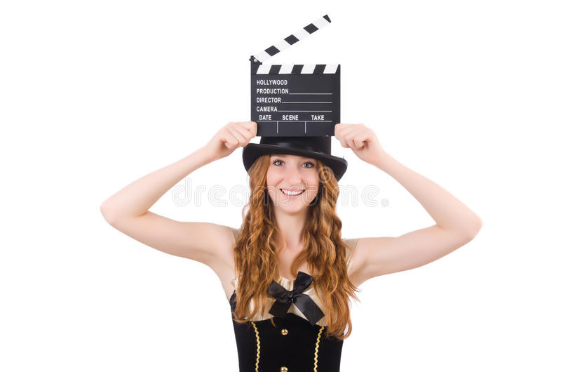 Download Young Woman With Movie Board Stock Photo - Image: 35813048