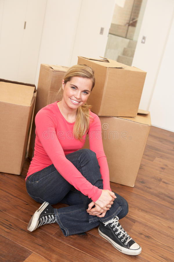 Download Young Woman On Moving Day Sitting On Floor Stock Image - Image: 18044639