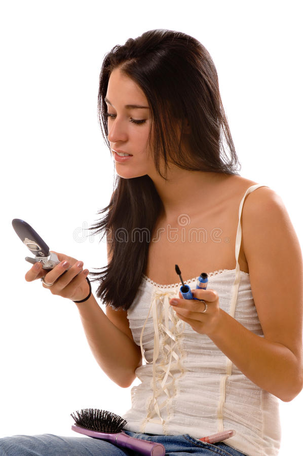 Young woman multitasking stock images