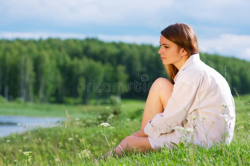 Download Young woman on nature. stock photo. Image of girl, enjoy - 15046586
