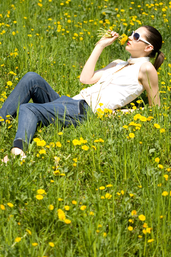 Download Young Woman In Nature Smelling A Flower Stock Image - Image: 8964481
