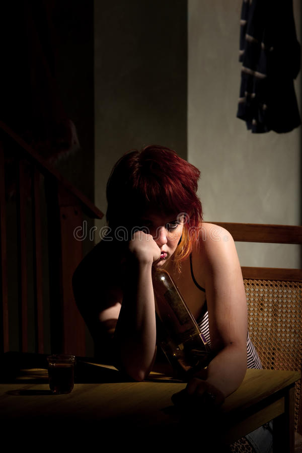 Download Young Woman With Near Enpty Bottle Of Wine Stock Images - Image: 13562804
