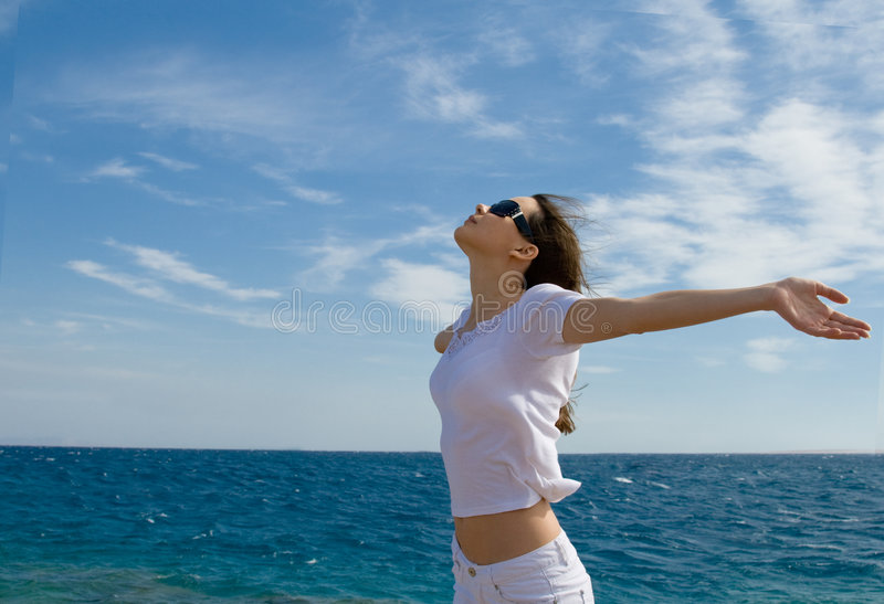 Download Young woman near a sea stock image. Image of hair, water - 6922347