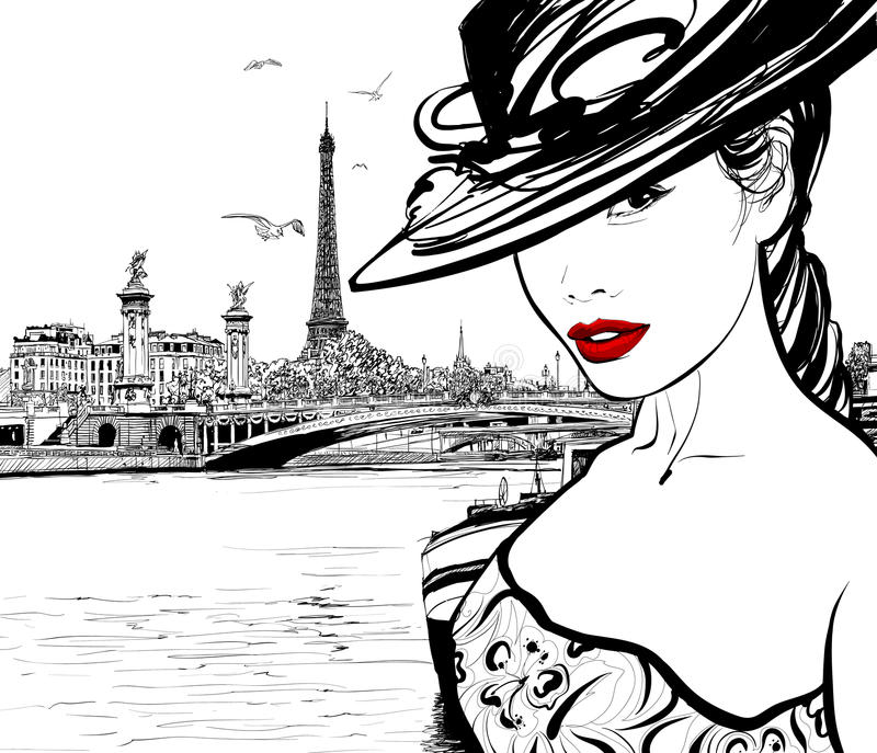 Young woman near the Seine river in Paris royalty free illustration