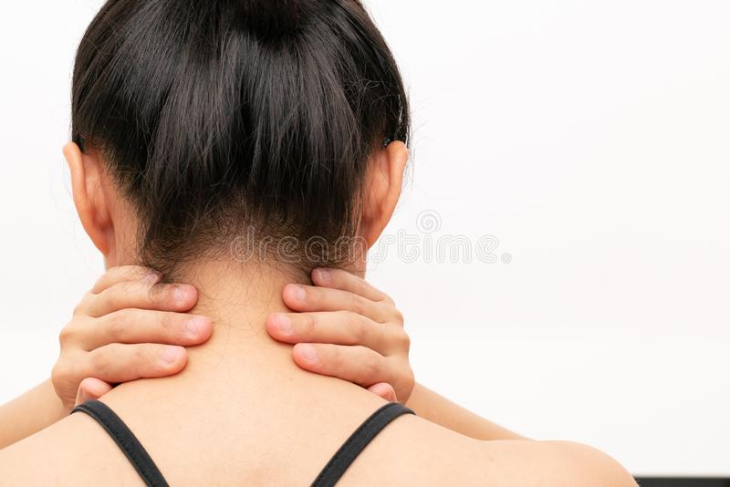 Young women neck and shoulder pain injury, healthcare and medical concept royalty free stock image