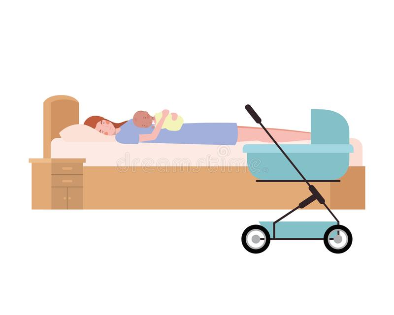 Young woman with newborn baby in bed. Vector illustration design vector illustration