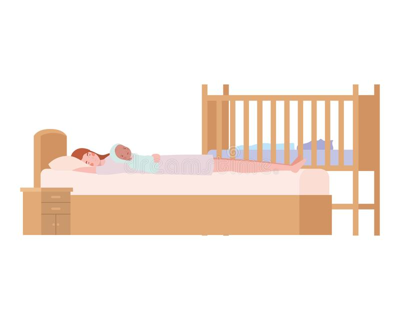 Young woman with newborn baby in bed. Vector illustration design royalty free illustration