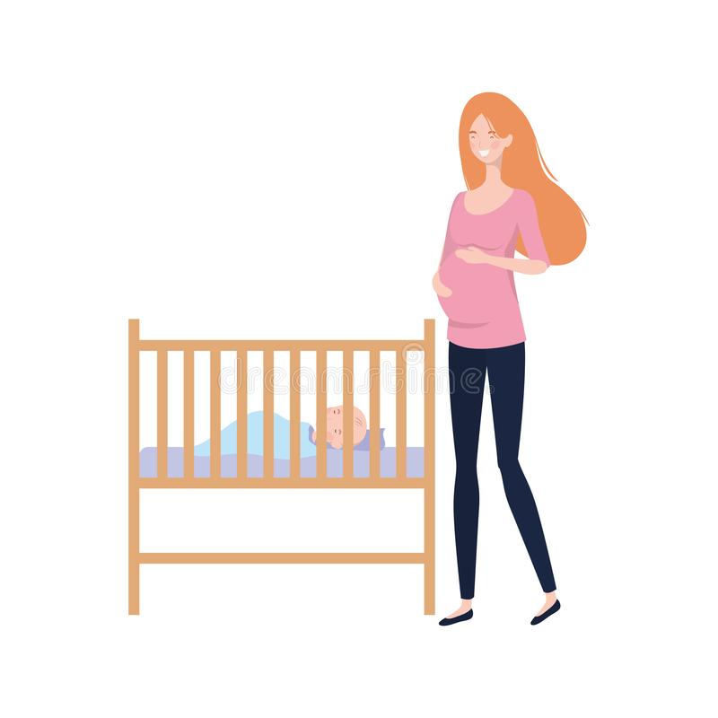 Young woman with newborn baby royalty free illustration