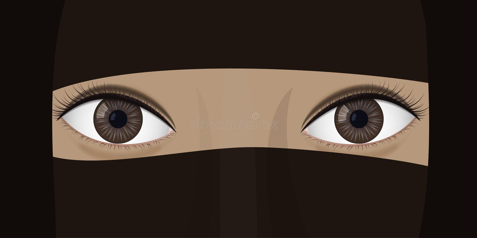Young woman in niqab. vector illustration